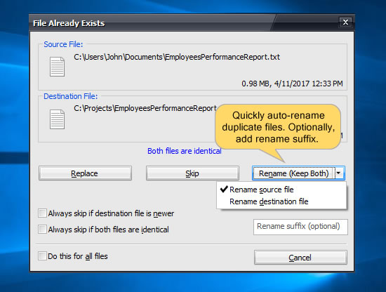 Automatically rename files when copying