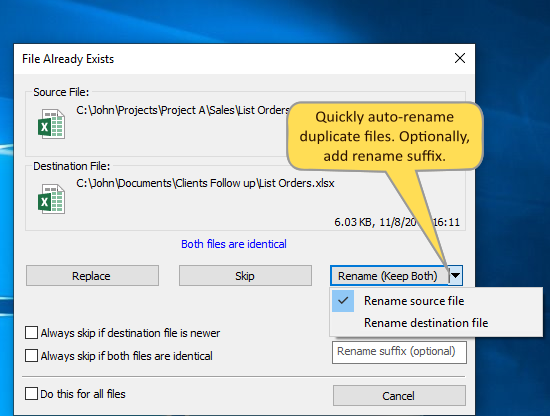 Automatically rename duplicate files when copying