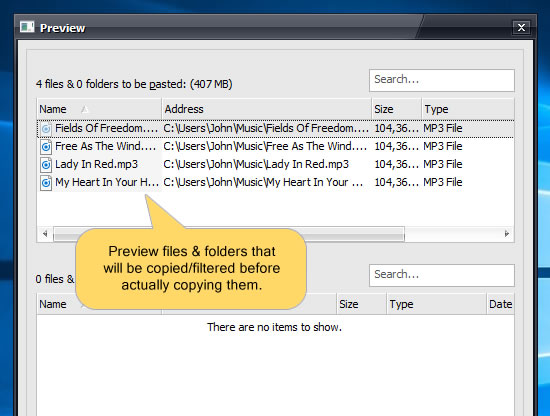 Review files before copying them. Find which files will be copied.