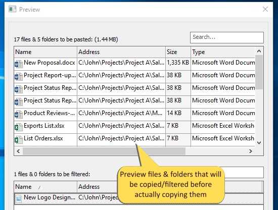 Review files before copying them. Check which files will be copied