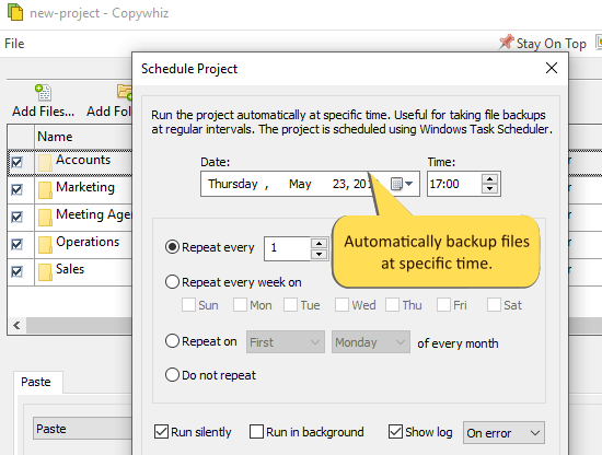 Schedule your file copy for backups