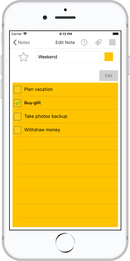 Notezilla for iPhone/iPad - Checklist Note