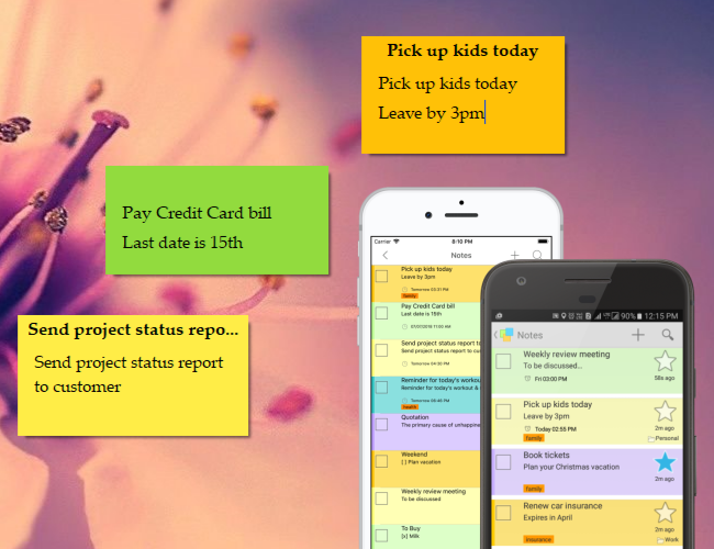 Synchronize sticky notes & access from iOS, Android, iPhone, iPad, Nokia, Blackberry etc