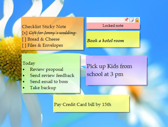 Sticky Notes on Windows desktop - Color, Skin, Transparency, Shadow, Website URL, Secured Notes