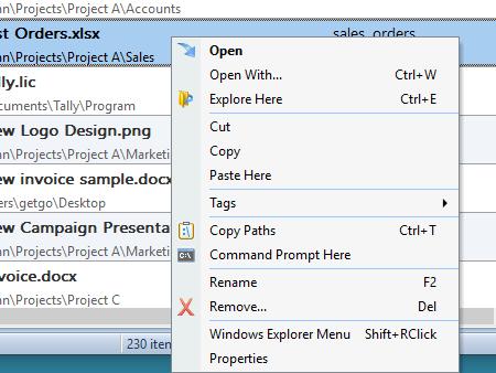 Open folder containing a particular file using RecentX