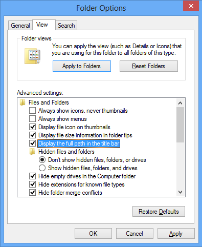 Windows Explorer - View Options