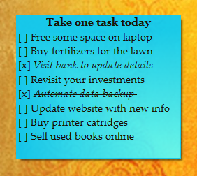 Take one task today - sticky note