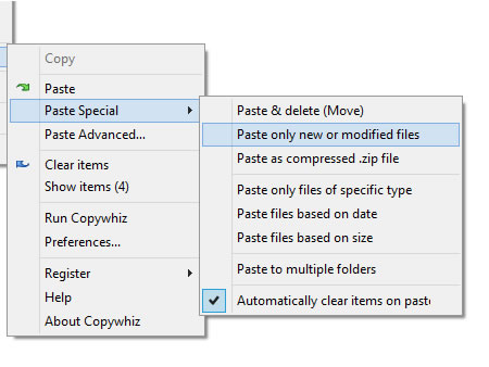 Paste only new or modified files (Automatically detected)