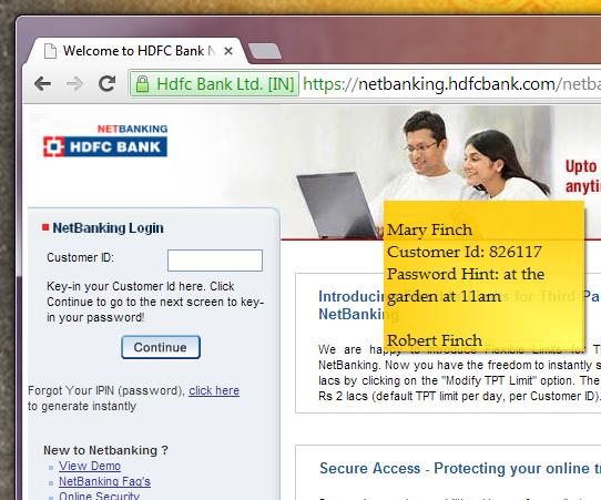 Sticky note on bank website
