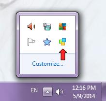 Notezilla icon hidden inside system tray (notification area)