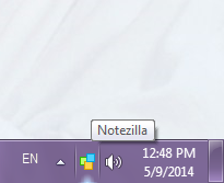 Notezilla icon visible in notification area