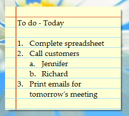 Sticky Note with Outlining on Windows