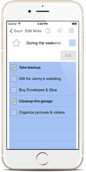 Checklist Note - Notezlla for iPhone/iPad