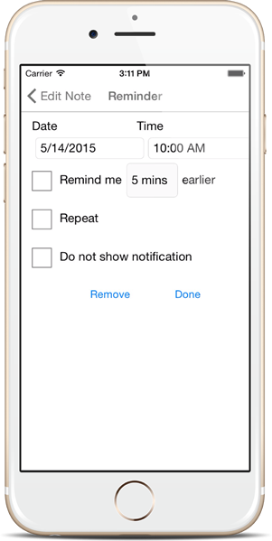 Set Reminder - Notezlla for iPhone/iPad