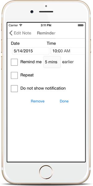 Set Reminder - Notezlla for iPhone/iPad