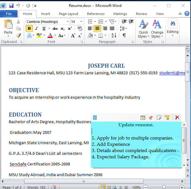 attaching sticky notes to microsoft word document in windows