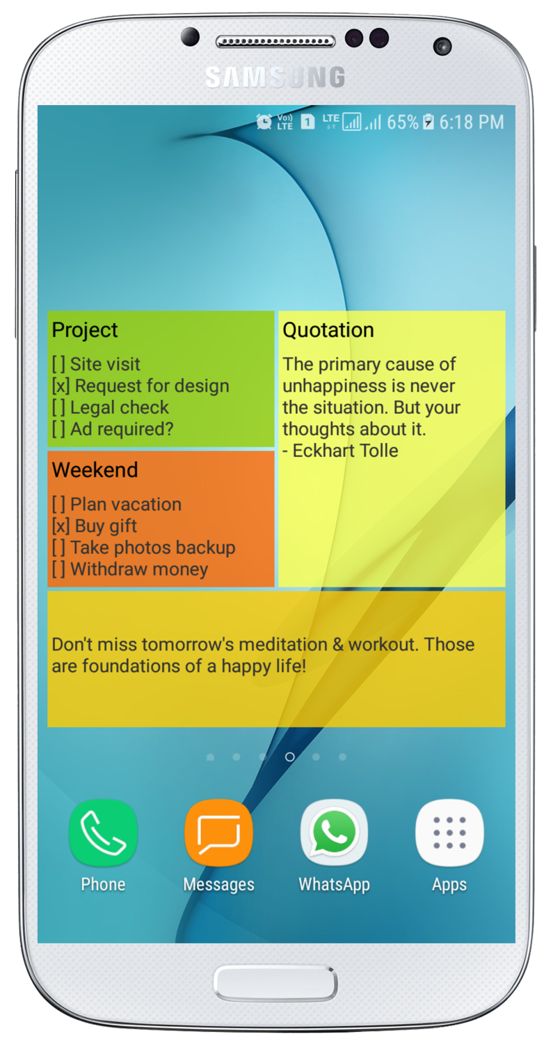 Sticky Notes on Android Phone's Home Screen