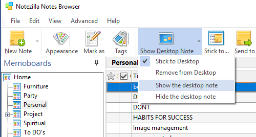 StickToDesktop Menu