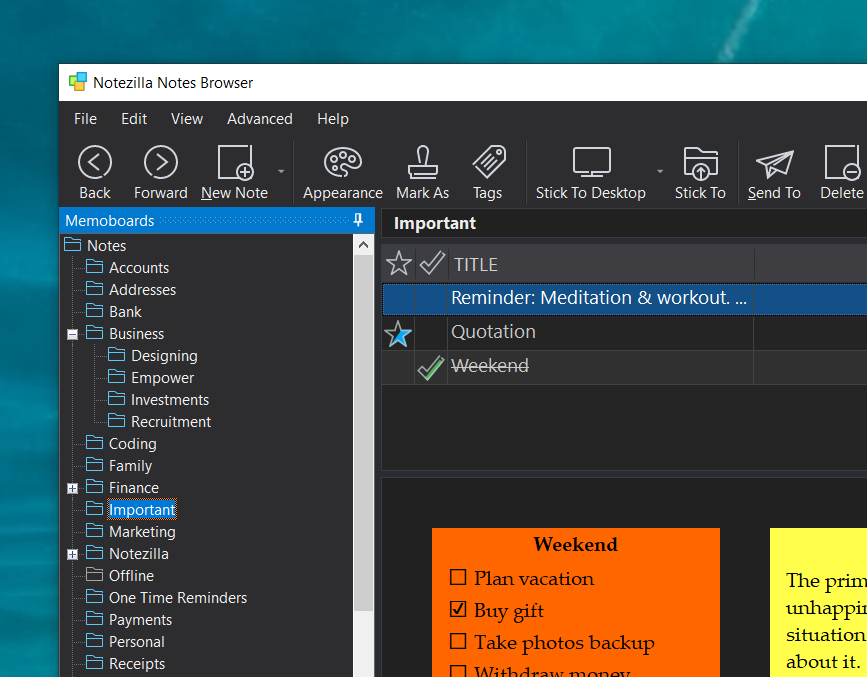 Sticky notes with dark mode support in Windows
