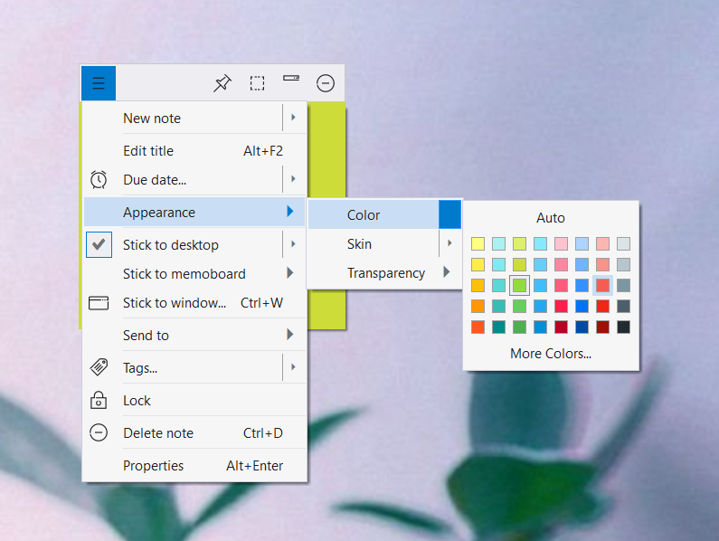 New color set for sticky notes on Windows