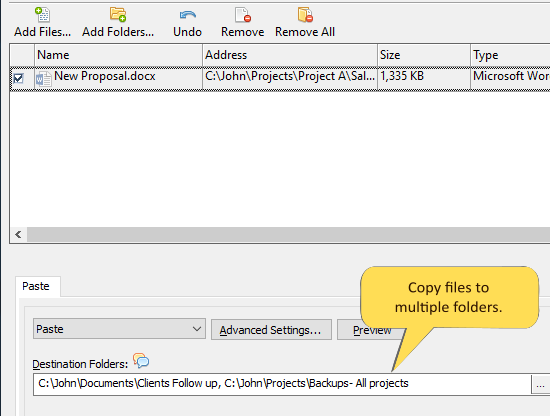 Copying one file to multiple folders simultaneously on